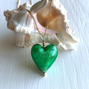 Necklace with dark green (emerald) Murano glass medium heart pendant on gold chain