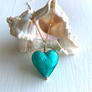 Necklace with teal (green, jade) Murano glass medium heart pendant on gold chain