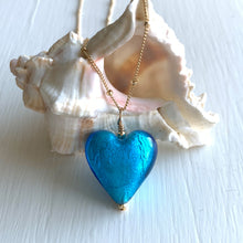 Necklace with turquoise (blue) Murano glass medium heart pendant on gold chain