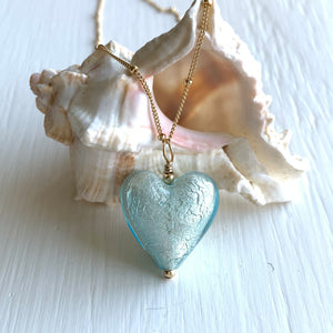 Necklace with aquamarine (blue) Murano glass medium heart pendant on gold chain