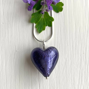Necklace with purple velvet Murano glass medium heart pendant on silver chain