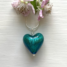 Necklace with sea green (jade, teal) Murano glass medium heart pendant on silver chain