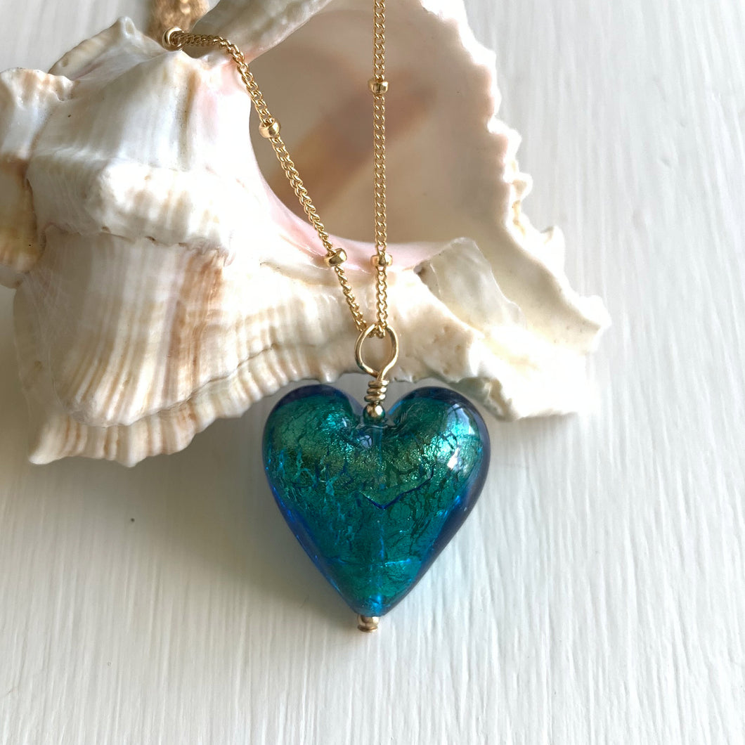 Necklace with sea green (jade, teal) Murano glass medium heart pendant on gold chain