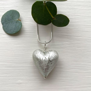 Necklace with clear crystal and white gold Murano glass medium heart pendant on chain