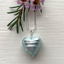 Necklace with aquamarine and silver Murano glass medium heart pendant on silver chain