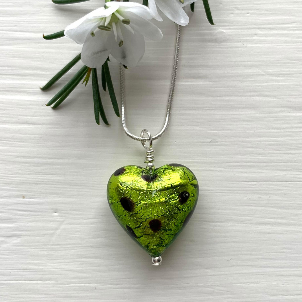 Necklace with olive green and black Murano glass medium heart pendant on silver chain