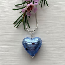 Necklace with cornflower blue & black Murano glass medium heart pendant on silver chain