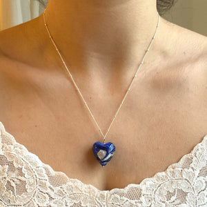 Necklace with byzantine periwinkle Murano glass medium heart pendant on silver chain