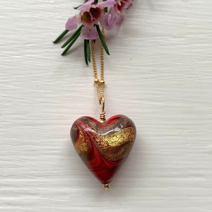 Necklace with byzantine red Murano glass medium heart pendant on gold satellite chain