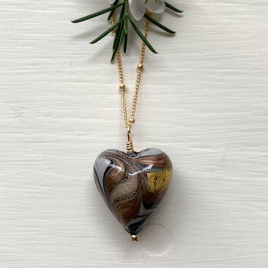 Necklace with byzantine grey Murano glass medium heart pendant on gold satellite chain