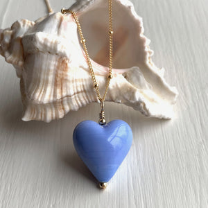 Necklace with periwinkle (blue) pastel Murano glass medium heart pendant on gold chain