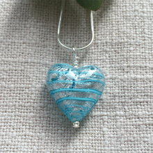 Necklace with blue spiral & silver Murano glass medium heart pendant on Sterling Silver chain