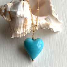 Necklace with turquoise (blue) pastel Murano glass medium heart pendant on gold satellite chain
