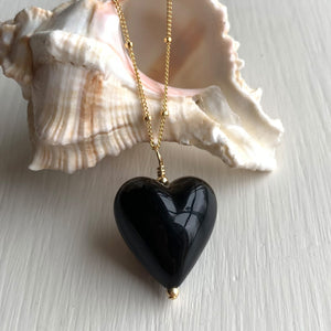 Necklace with black pastel Murano glass medium heart pendant on gold satellite chain