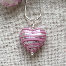 Necklace with pink spiral and silver Murano glass medium heart pendant on silver chain
