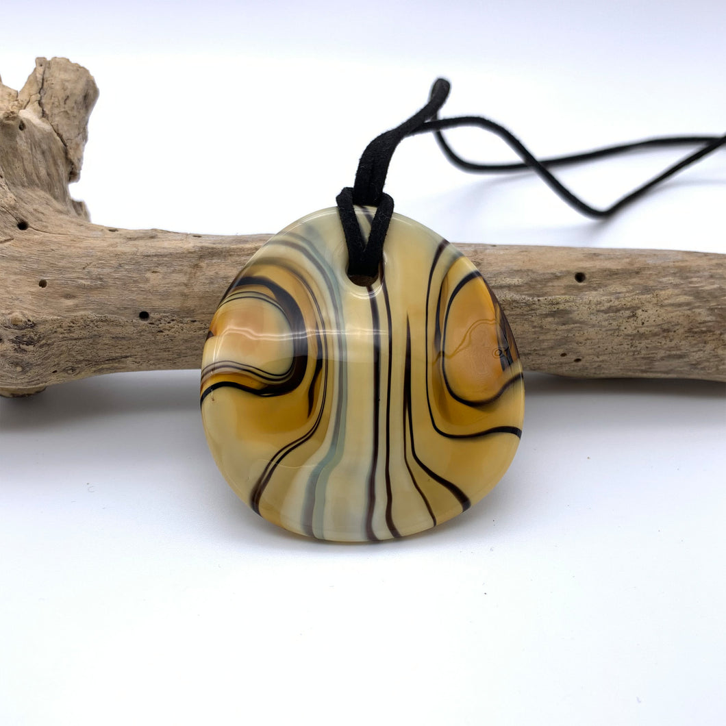 Necklace with caramel (dark ivory, brown) pastel Murano glass near circular large flat pendant