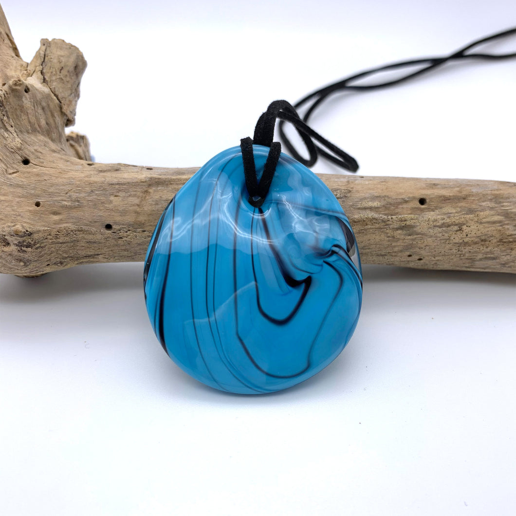 Necklace with turquoise (blue) pastel Murano glass near circular large flat pendant