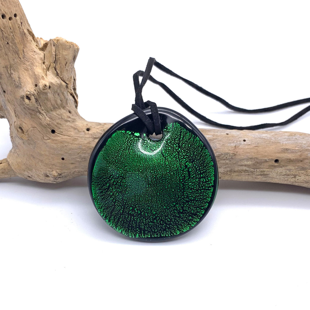 Necklace with dark green and silver on black Murano glass near circular large flat pendant