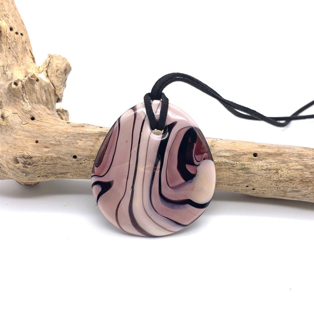 Necklace with amethyst (lilac, purple) pastel Murano glass near circular large flat pendant
