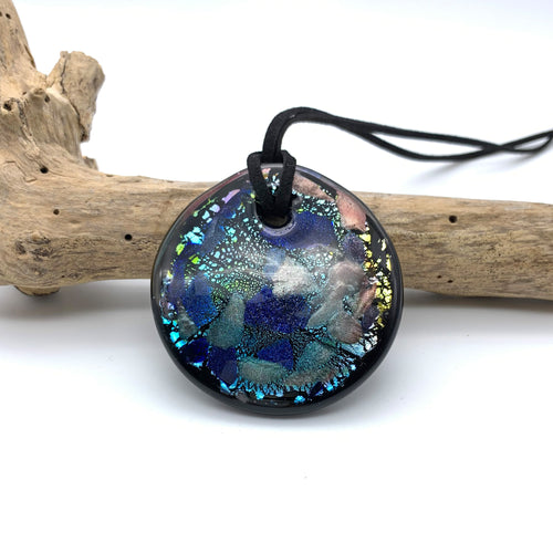 Necklace with shades of blue and ruby on black Murano glass circular large flat pendant