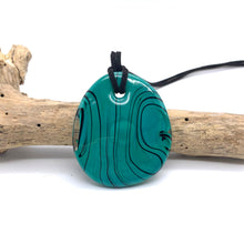 Necklace with teal (green, jade) pastel Murano glass near circular large flat pendant