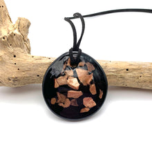 Necklace with shades of aventurine leaf on black Murano glass circular large flat pendant