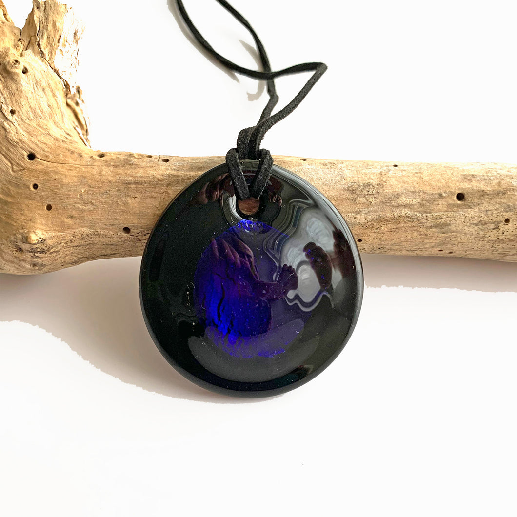 Necklace with dark blue (cobalt) and silver on black Murano glass near circular dome pendant