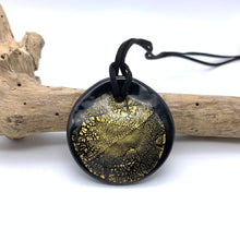 Necklace w/ clear crystal & gold over black pastel Murano glass near circular large flat pendant