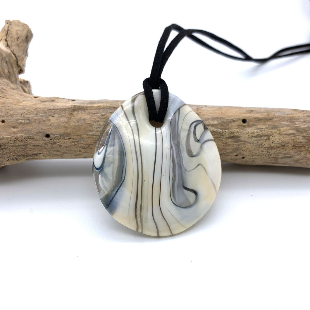 Necklace with ivory (white) pastel Murano glass near circular large flat pendant