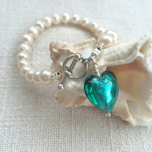 Bracelet with teal (green, jade) Murano glass small heart charm on white pearls