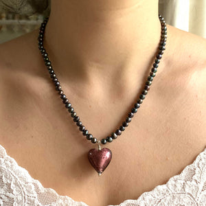 Necklace with dark amethyst (purple) Murano glass medium heart on black pearls