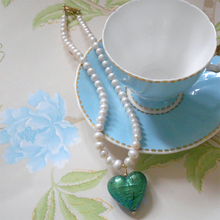 Necklace with sea green (jade, teal) Murano glass large heart pendant on pearls