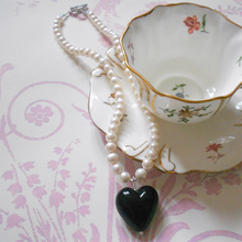 Necklace with black pastel Murano glass large heart pendant on white pearls