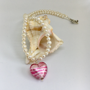 Necklace with candy stripe pink Murano glass medium heart pendant on white pearls