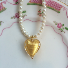 Necklace with light (pale) gold Murano glass medium heart pendant on white cultured freshwater pearls