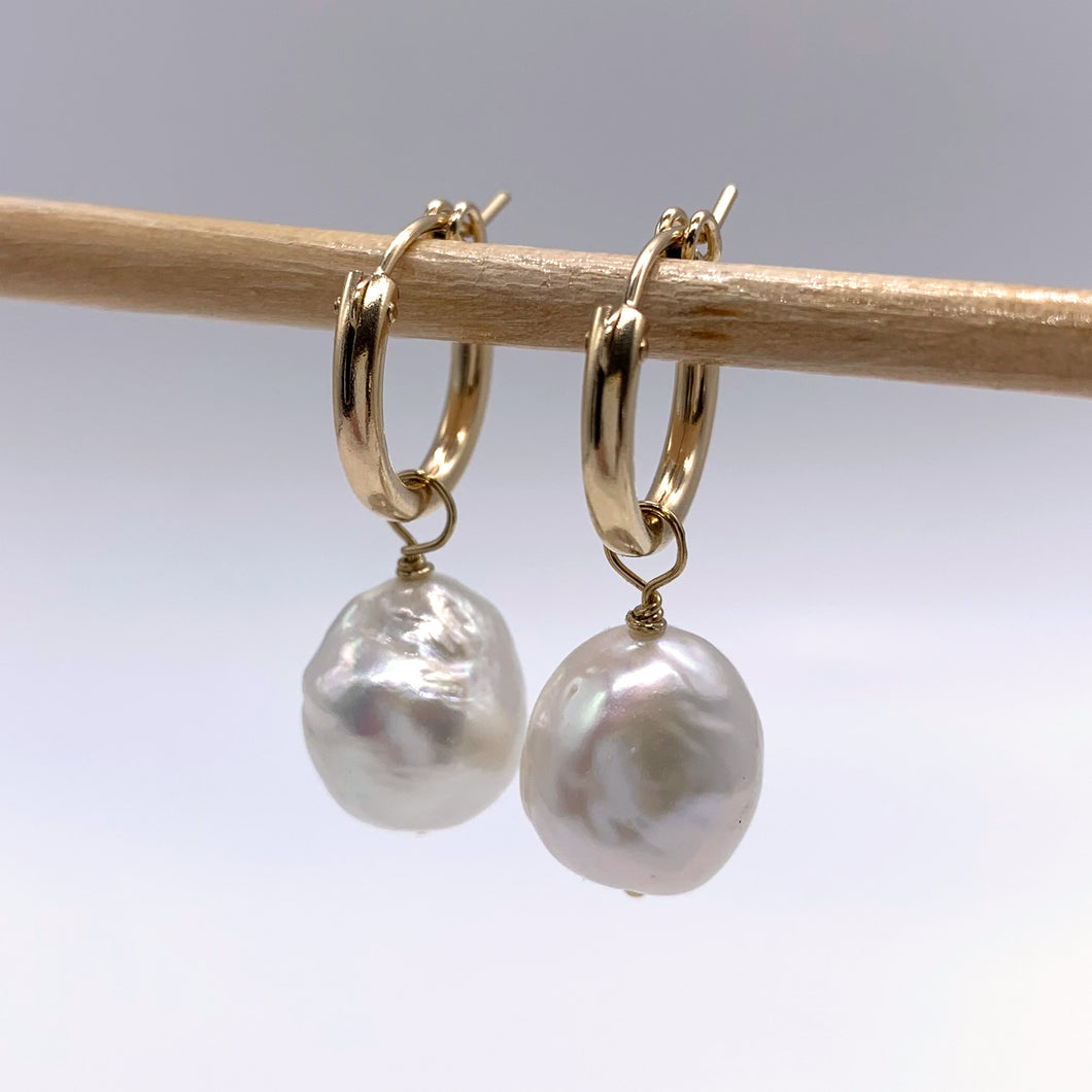 Pearl earrings with cultured freshwater white baroque 'Kasumi' pearl drops on gold hoops