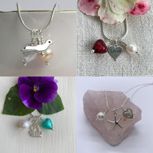 Three charm necklace in silver with rose pink (cerise, fuchsia) heart and *20 charm options*