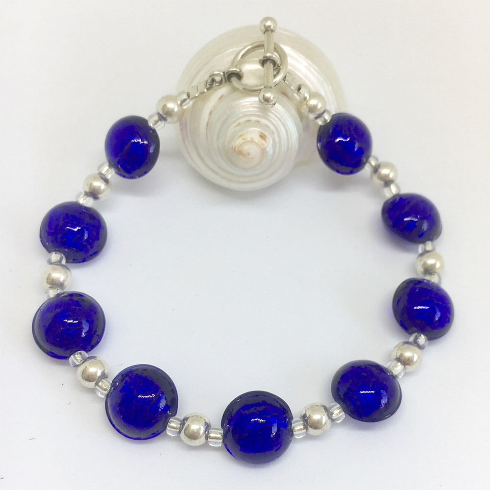 Bracelet with dark blue (cobalt) Murano glass mini lentil beads on silver beads and clasp