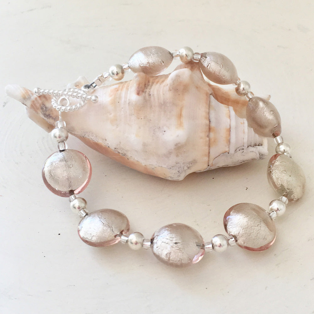 Bracelet with champagne (peach, pink) Murano glass small lentil beads on silver