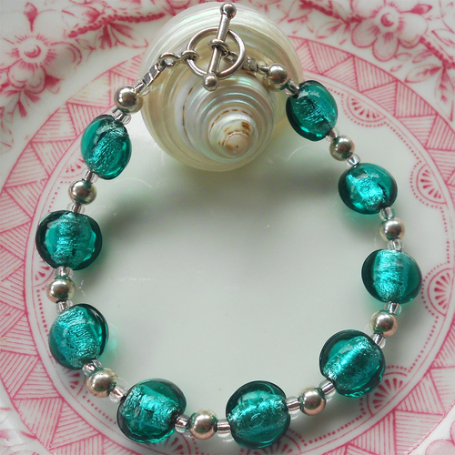 Bracelet with teal (green, jade) Murano glass mini lentil beads on silver beads and clasp