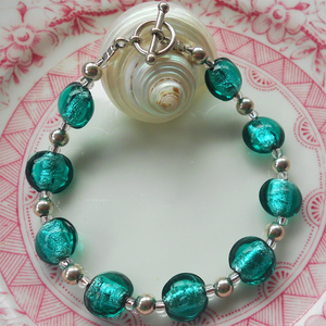 Bracelet with teal (green, jade) Murano glass mini lentil beads on Sterling Silver beads & clasp