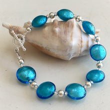 Bracelet with turquoise (blue) Murano glass small lentil beads on silver beads & clasp