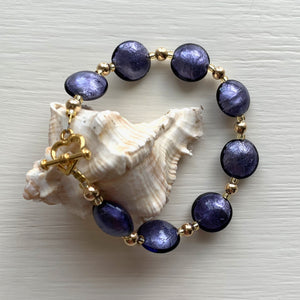Bracelet with purple velvet Murano glass small lentil beads on gold