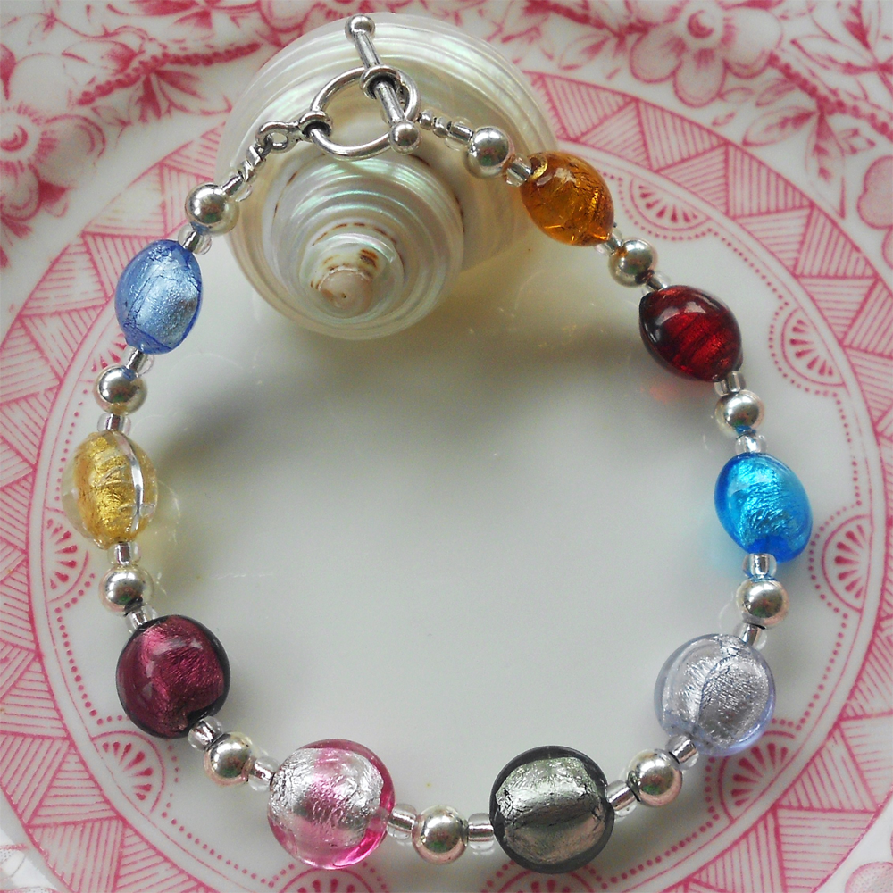 Bracelet with multicolours Murano glass mini lentil beads on silver beads and clasp
