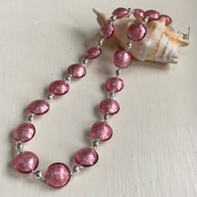 Necklace with rose pink (cerise) Murano glass small lentil beads on silver