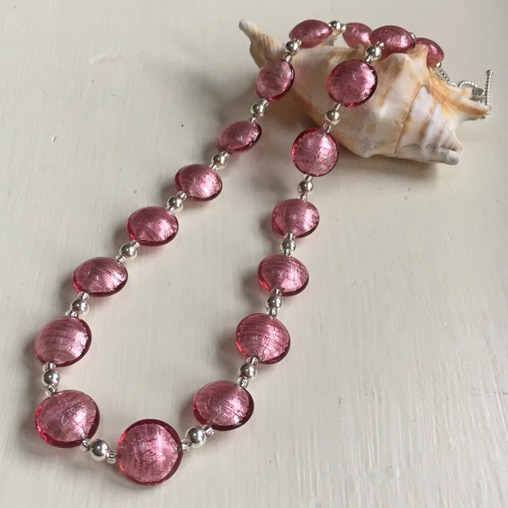Dark Pink (Cerise) Lentil 'Smartie' Bead Necklace On Silver