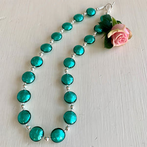 Necklace with teal (green, jade) Murano glass small lentil beads on silver beads and clasp