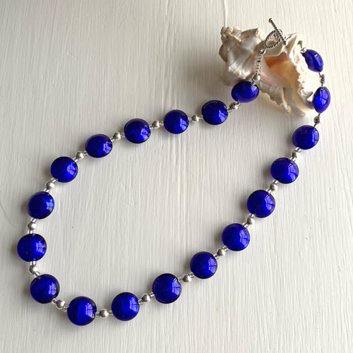 Necklace with dark blue (cobalt) Murano glass small lentil beads on silver beads and clasp
