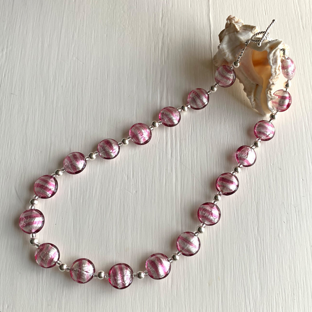 Necklace with candy stripe pink Murano glass small lentil beads on silver beads and clasp