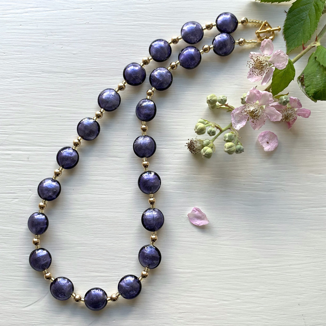Necklace with purple velvet Murano glass small lentil beads on gold beads and clasp